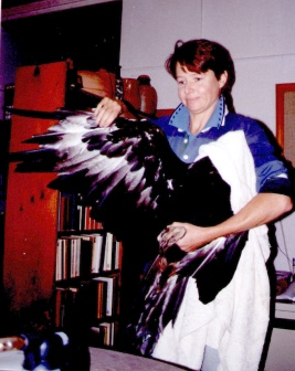 Gillian spreads the bird's wing to show the damage to the outer soaring feathers